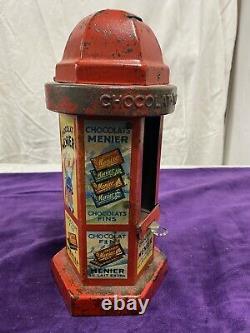 Ancien Kiosque Distributeur Chocolat Menier Rouge Tôle Lithographies Publicités