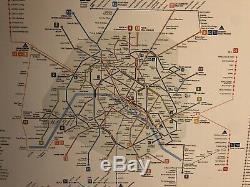 Ancien Plan De Metro Mural De PARIS Dans Son Jus Dorigine No Plaque Emaillee