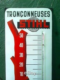 Ancien Plaque émaillée Thermomètre STIHL Yvan Béal &Cie Publicité Tronçonneuses