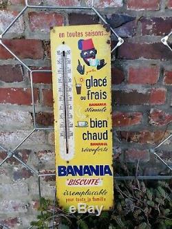 Ancien Thermomètre Banania Sérigraphie en tôle no plaque émaillée Top 1960