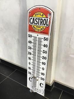 Ancien Thermomètre Émaillé Castrol Plaque Émaillée