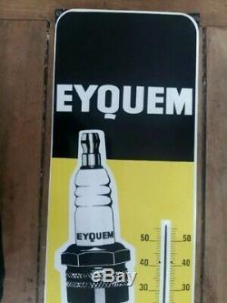 Ancien Thermomètre / Plaque émaillée EYQUEM Garage, Automobilia 31x98cm