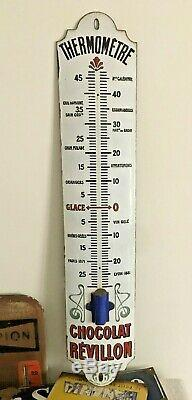 Ancien Thermomètre émaillée bombée publicitaire Chocolat Révillon 94 cm