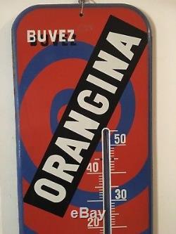 Ancien Thermomètre en tôle ORANGINA d'après VILLEMOT-1950