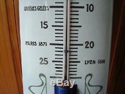 Ancien Thermomètre en tôle émaillée, bombée, CHOCOLAT REVILLON, ETAT NEUF