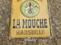 Ancien Tole Publicitaire Lithographie Savon La Mouche Marseille Plaque Emaillee