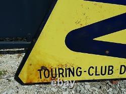 Ancien grand panneau de signalisation émaillée Touring club de France virage