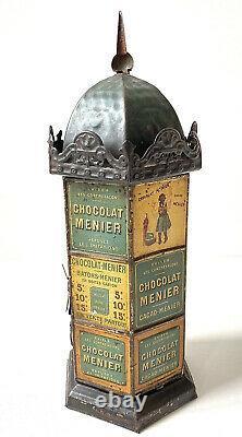 Ancien kiosque Morris distributeur Chocolat Menier en tôle lithographiée 1895