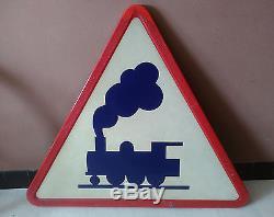 Ancien panneau signalisation routière train