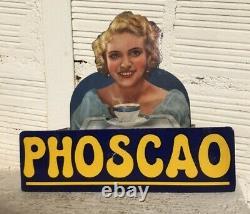 Ancien présentoir PHOSCAO 1950 no plaque émaillée kub maggi menier banania