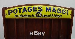 Ancien présentoir plaque émaillée POTAGES MAGGI no kub maggi oxo liebig menier