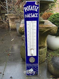 Ancien thermomètre baromètre Plaque émaillée Potasse d'Alsace