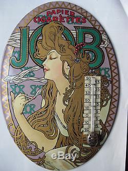 Ancien thermometre glacoide JOB de Mucha Affiche Femme Blonde Art Nouveau
