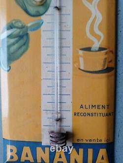 Ancien thermomètre glaçoide publicitaire BANANIA no plaque émaillée