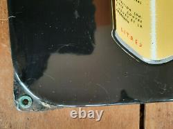 Ancienn plaque émaillée thermomètre HUILES LABO Garage Automobilia E. A. S 31x97cm