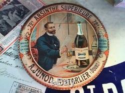 Ancienne Coupelle Tôle Litho Absinthe Junod Pontarlier 1900 Cadeau De Noël