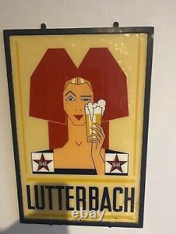 Ancienne Et Rare Plaque Verre Brasserie Lutterbach