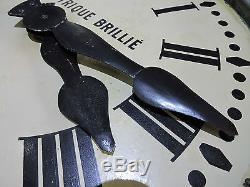 Ancienne Grande Horloge Brillié Pendule 67 cm / meuble métier gare usine indus