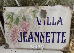 Ancienne Grande Plaque Emaillee Bombee De Rue De Villa Villa Jeannette 19eme