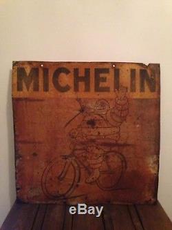 Ancienne Grande Plaque En Tôle Michelin Années 30 Plaque Émaillée Enamel Sign