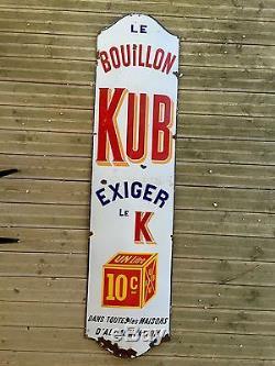 Ancienne Grande Plaque Émaillée KUB 2M Chapeau Gendarme Meuble De Métier Loft