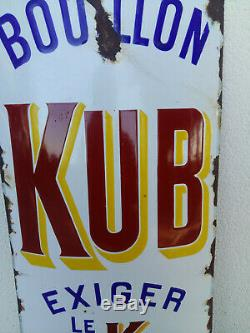 Ancienne Grande plaque émaillée bombée BOUILLON KUB Exiger le K 10C 33x99cm
