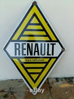 Ancienne Grande plaque émaillée losange RENAULT Régie Nationale 78x115cm EAS