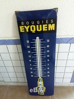 Ancienne Grande plaque émaillée thermomètre Bougies EYQUEM 33x99cm