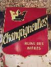 Ancienne PLAQUE ÉMAILLÉE BIÈRE CHAMPIGNEULLES double face E. A. S, motos