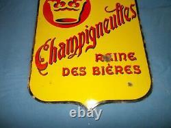 Ancienne PLAQUE ÉMAILLÉE BIÈRE CHAMPIGNEULLES jaune double face couronne 1956