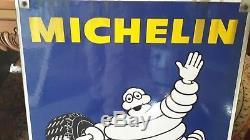 Ancienne PLAQUE ÉMAILLÉE MICHELIN 85 x 68 1950, vintage, garage, auto, moto