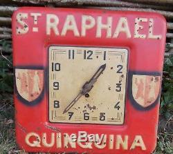 Ancienne Pendule En Tole Publicitaire St Raphael Quinquina