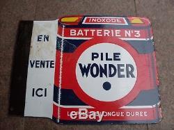 Ancienne Plaque Emaille Wonder Double Face Email Alsace Str Hoenheim Vintage