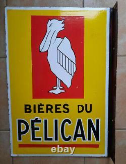 Ancienne Plaque Emaillée BIERES DU PELICAN E A S 41x60cm bar brasserie cave vin
