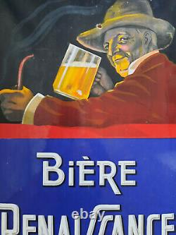 Ancienne Plaque Emaillée BIERE RENAISSANCE E A S 38x58cm bar brasserie cave vin