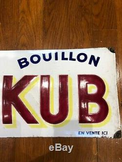 Ancienne Plaque Émaillée Bombée Bouillon Kub