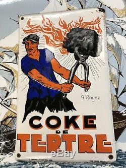 Ancienne Plaque Émaillée COKE DE TERTRE BELGIQUE 1933