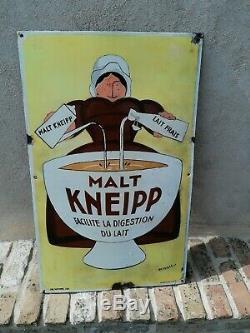 Ancienne Plaque Emaillee Café Malt Kneipp 1920