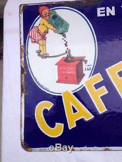 Ancienne Plaque Émaillée Cafexqui Émaillerie Strasbourg Double Face