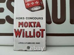 Ancienne Plaque Émaillée Chicorée Mokta Williot hors concours Top vintage