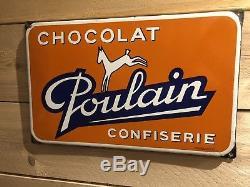 Ancienne Plaque Emaillee Chocolat Poulain TOP ETAT