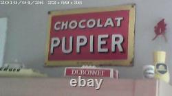 Ancienne Plaque Émaillée Chocolat Pupier