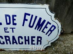 Ancienne Plaque Emaillée DEFENSE DE FUMER ET DE CRACHER (tabac à chiquer)