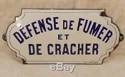 Ancienne Plaque Emaillee Defense De Fumer Et De Cracher Emaille Japy