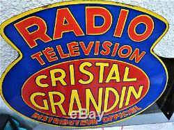 Ancienne Plaque Émaillée Double Faces Radio Télévision Cristal Grandin 1930
