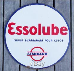 Ancienne Plaque Émaillée Essolube L'huile Superieure Pour Autos Standard Eas