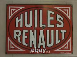 Ancienne Plaque Emaillee Huiles Renault Pub. Shrg 1933 Bidon Garage Loft