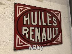 Ancienne Plaque Emaillee Huiles Renault TOP ÉTAT