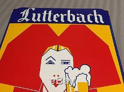 Ancienne Plaque Émaillée LUTTERBACH Bière D'Alsace Alsacienne Pub Déco N°2