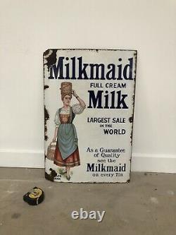 Ancienne Plaque Emaillee Milkmaid Enamel Porcelain Sign Emailschild